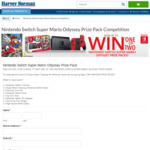 Win 1 of 2 Nintendo Switch Super Mario Odyssey Bundles Worth $549 from Harvey Norman