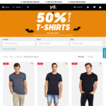 50% Off T-shirts from yd. Shipping $10 or Free Click & Collect