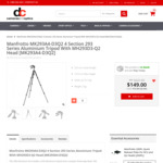 Manfrotto 4 Section 293 Series Tripod with MH293D3-Q2 Head $149 with Free Shipping @ Dirt Cheap Cameras