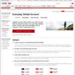 HSBC - New Everyday Global Account for Travellers / Multiple Currencies (No Overseas ATM Fees)