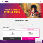 TPG Mobile 10GB Data Unlimited Local, Mobile, SMS, 1300/30, & 100 International Minutes- $15 Monthly (First 6 Months)