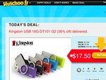 Kingston USB 16G DT101 G2 for $17.50 Delivered (36% off)