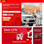 15% off all Trailer & Vehicle Hire When Booked Before 25/12 @ moveyourself.com.au