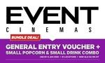 Event Cinemas Bundle - Entry + Small Popcorn + Small Drink $16.65 @ Groupon
