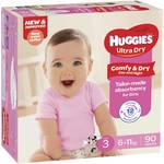 [NSW] Huggies Nappies Ultra Dry $20 Per Box (90pk) at Woolworths