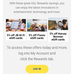 5% off JB Hi-Fi, iTunes and Harvey Norman eGift Cards for AGL Customers
