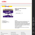 Quilton 3 Ply Toilet Tissue (180 Sheets Per Roll, 11x10cm), Pack of 36 for $14 @ Coles