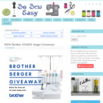 Win a Brother 1034D Serger (Overlocker) from So Sew Easy