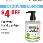 Oakwood Hand Sanitiser 500ml 70% alcohol, $4.99 (Was $8.99) @ Costco (Membership Required)