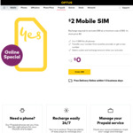 Optus Free $2 Prepaid SIM and Free Delivery