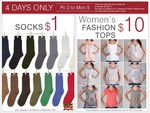 Rivers - Socks $1, Womens Fashion Tops $10 - 4 Days Only