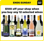 $100 off When You Buy 12 Selected Wines Online @ Liquorland