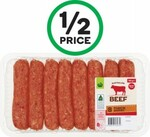 ½ Price Woolworths Beef Sausages Thick 760g $3.50, Cocobella Coconut Water 1L $2.50, Tuffy Paper Towel Pk 3 $2.15 @ Woolworths