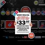 Domino's Pizza Deal $33 Delivered (3x Traditional Pizza 2x Garlic Bread 2x 1.25l Coke) - 03524