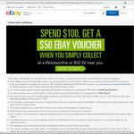 [SYD/MELB/TAS] Spend $100 at eBay (Collect at Woolworths or BigW Store) & Get a $50 eBay Voucher
