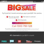 Foxtel Entertainment Pack - No Lock in Contract - No Set up Fees - $25 Per Month