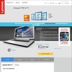 "Lenovo IdeaPad 700 $1,249 - 17.3"" FHD, i7-6700HQ, 16GB RAM, 128GB SDD + 1TB HDD, GeForce GT940"