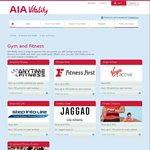 50% off Virgin Active Membership, up to 50% off Fitness First, up to $400 off Anytime Fitness Fees/Yr for AIA Vitality Members