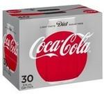 Coca-Cola Cans Soft Drink 30 Pack 375ml - Classic, Diet Coke, No Sugar $17.22 Each $1.53 Per 1L @ Coles