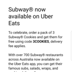 $9 off Your Subway Order (Delivery Fee Applies) @ UberEATS
