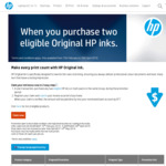 "Buy 2 HP Ink Cartridges from The ""Same Group"" in The Same Transaction and Get Cash Back up to $100 @ HP"