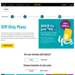 Optus SIM Only Plan: $40/Mth over 12 Months with 80GB, Unlimited Calls and Text While Overseas Plus 4GB on Roaming