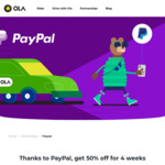50% off (up to $10 Per Ride) when Using Paypal @ Ola (New Users)