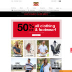 50% off Clothing & Footwear (Excludes Clearance, Accessories, Socks & Underwear) @ Rivers Australia