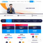 Lebara Mobile Long Term Plans Recharge: Small 180 Day (70GB) $110, Medium 180 Day (100GB) $120