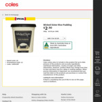 Wicked Sister Rice Pudding 500g $2.50 (Half Price) @ Coles