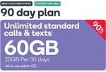 [VIC] 90-Day Prepaid SIM 60GB (20GB Per 30 Days) $9.90 - New Customers Only @ Kogan Mobile