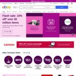[eBay Plus] Flash Sale: 10% off Over 30 Million Items (Min Spend $30, Max Discount $300) @ eBay