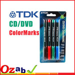 TDK 4 Colour Permanent Marker Pens for CD/DVD - $1 Delivered (1 per customer) from OZAB
