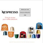 Buy Nespresso Machine and Claim up to Either $95 Coffee Credit or $70 Cashback