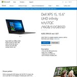"Dell XPS 15 (9550 6th Gen) 15.6"" UHD Touch Screen, i7-6700HQ, 16GB RAM, 512GB SSD $1999 or $1799 (Student a/c) @ Microsoft Store"
