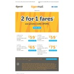 Tiger Air (2 for 1) Fares with Promo Code