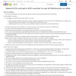 Kathmandu eBay - Spend $150 and Get a $50 Kathmandu eBay Voucher