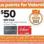 Bonus Reward Points on Selected Gift Cards - Event Cinemas, Bra n Things, David Jones, Accor Hotels @ Woolworths