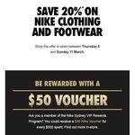 [NSW] Nike 20% off on Clothing and Footwear - in Store Only