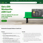 Woolworths Everyday Platinum Visa Credit Card - 0% Balance Transfer (14 Months), No Annual Fee 1st Year ($49/Yr Thereafter)