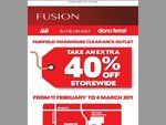 Fusion (JAG, Colorado, diana ferrari) Fairfield (VIC) Warehouse extra 40% off storewide