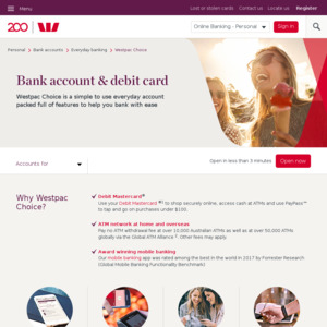 Westpac Get $50 for Opening Any Westpac Choice Account