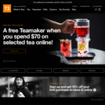 A Free Teamaker When You Spend $70 on Selected Tea Online at T2