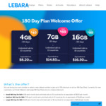 Lebara 180 Day Plan: Large Plan 16GB $99, Medium 10GB $89 +