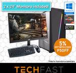 """Ryzen 5 2600 GTX 1060 6GB 120GB SSD 8GB DDR4 550W + Dual 24"""" Mon. Gaming Bundle $840 Delivered @ Tech Fast eBay"""