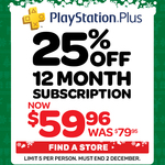 PlayStation Plus 12 Month Subscription $59.95 @ EB Games