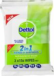 Dettol 2 in 1 Hands & Surfaces Anti-Bacterial Wipes 3x 15 Pack $7.47 + Delivery ($0 with Prime/ $39 Spend) @ Amazon AU