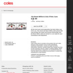 [Price Error] Jim Beam White & Cola 375ml Cans $7 (1 Carton Unit Price $0.08 Per 100ml) @ Coles (Deal Honoured)