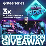 Win 1 of 3 SteelSeries Neon Rider Mouse & Mousepad Prize Packs Worth $174 from PC Case Gear