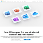 50% off Microsoft 365 Personal $49.50 or Family $64.50 for 1st Year, 30% off Subsequent Years @ Microsoft (Valid Work Email Rqd)